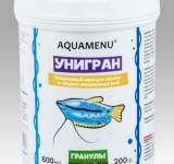 Корм Аква Меню Унигран гранулы для ежедневного кормления большинства видов аквариумных рыб, 600 мл (200г)